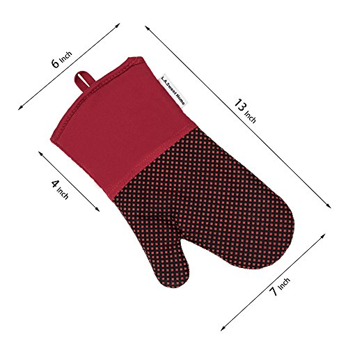 Silicone Oven Mitts 464 F Heat Resistant Potholders Dot Printed Cooking Gloves Non-Slip Grip for Kitchen Oven BBQ Grill Cooking Baking 1 pair 13 Inch (Purple) LA Sweet Home by LA Sweet Home (Image #1)