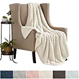 Ultra Soft, Fuzzy Sherpa Stretch Knitted Throw Blanket. Lightweight and Cozy, Elegant, Chic Decorative Fleece Blanket. (Winter White)