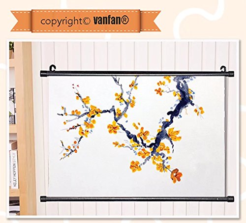 vanfan Wall Scroll Poster- Flower House Decor Watercolor Jap