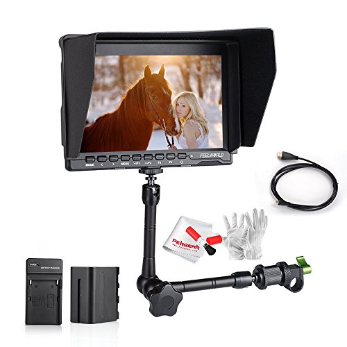 Feelworld FW759 7 Inch IPS On-Camera Field Monitor with 6600mAh Battery Kit, 11'' Magic Adjustable Arm, Mini HDMI, Micro HDMI Cable, Sunshade and Pergear Clean Kit by FEELWORLD