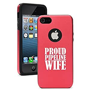 Apple iPhone 5 5s Aluminum Silicone Dual Layer Hard Case Cover Proud Pipeline Wife (Red)