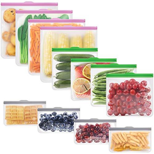 GLAMFIELDS Reusable food Storage Bags – 12 Pack Leakproof Freezer BPA FREE Bag(4 Reusable Gallon Bags + 4 Reusable…