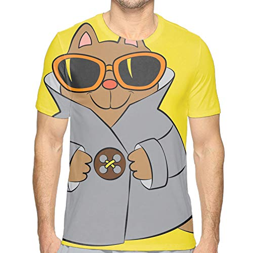 Men Casual Brown Cats with Sunglass Short Sleeve Round Neck Blouse ()