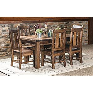 New Hickory Wholesale Amish Santa Fe 7 Pc. Solid Rough Sawn Wood Dining Table Set, Stained Almond