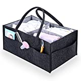 Baby Diaper Caddy | Nursery Diaper Tote Bag | Large Portable Car Travel Organizer | Boy Girl Diaper Storage Bin for Changing Table | Baby Shower Gift Basket | Newborn Registry Must Haves