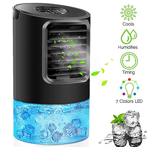 Portable Air Conditioner Fan, KUUOTE Personal Space Air Cooler Quiet Desk Fan Mini Evaporative Cooler with 7 Colors Night Light, Air Circulator Humidifier Misting Fan for Home Office Bedroom, Black (Cooler Fan Table)