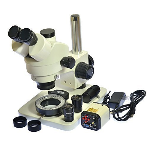 AIHOME 7X-45X Trinocular Digital Industry Zoom Stereo 2.0MP Microscope Camera + 200X USB VGA AV Zoom C-mount Lens Camera Kit by Aihome