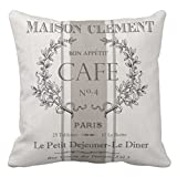 Emvency Throw Pillow Cover Modern Vintage French Cafe Decorative Pillow Case Paris Home Decor Square 20 x 20 Inch Cushion Pillowcase