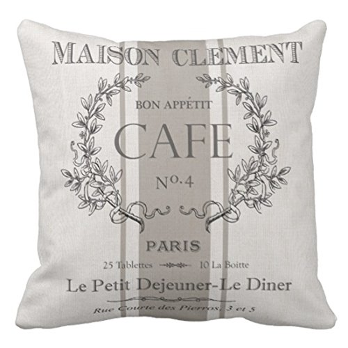 Emvency Throw Pillow Cover Modern Vintage French Cafe Decorative Pillow Case Paris Home Decor Square 20 x 20 Inch Cushion (French Stripe Pillow)