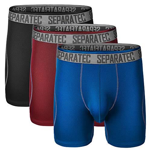 Separatec Men's Underwear 3 Pack Dual Pouch Sport Quick Dry Boxer Briefs