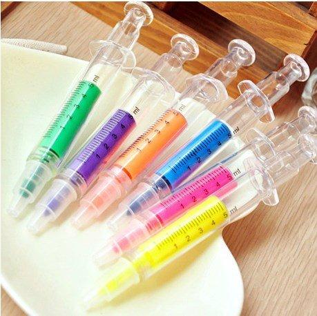 6 Syringe Kit (CTKcom 6 Colors Highlighter Pens & Syringe Fluorescent Needle Watercolor Pen for Children, for Home and school Use)