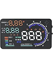"""Acouto 5.5"""" HUD Car Head Up Display OBD II Auto Windshied Reflective,Speed Fatigue Warning,Mileage Measurement,Low Voltage/High Temperature Alarm,Multiple-color Bright"""