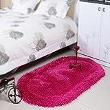 Home oval carpet / children's room full floor carpet / bedroom bed front bed blanket / solid color children crawling pad carpet ( Color : Rose Red , Size : 80160cm )