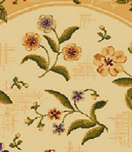 Summer Flowers Beige Oval 8 X 11 Nylon Area Rug Printed