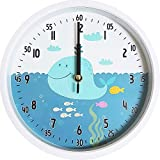 Bronzehouse 12'' Easy Read Time Teacher Children's Wall Clock Silent Non-Ticking Movement Learn to tell the time Whale