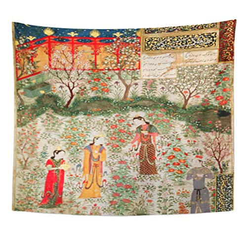 Semtomn Tapestry Artwork Wall Hanging Fine Persian Garden Th Century C on School 15Th 50x60 Inches Tapestries Mattress Tablecloth Curtain Home Decor ()