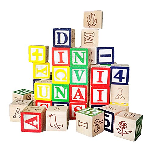 GearRoot 50PCS Building Block Set, 100% Wood Alphabet ABC Puzzle Blocks, with Numbers Pictures for Early Learning Math Counting Preschool Kids Toddlers (Alphabet Photo Puzzles)