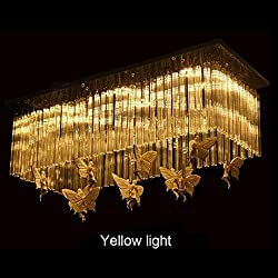 Pendant lights Rectangular Restaurant Chandeliers, LED Dining Room Lights Creative Lamps Angel Butterfly Decoration Modern Simple (Color : Yellow Light, Size : 6025cm)