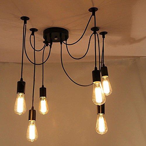 Lemonbest 6 Head E27 Vintage Diy Ceiling Chandelier Light