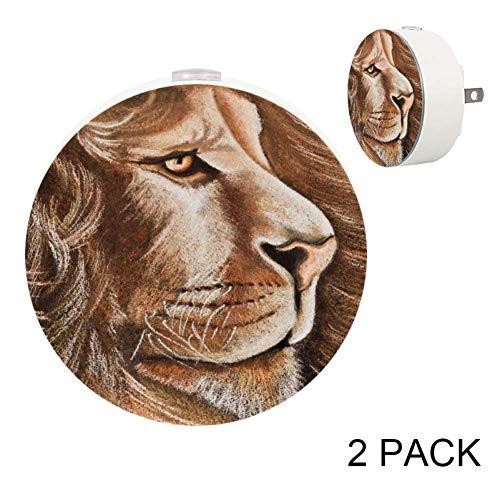LORVIES Lion Art Plug in LED Night Light Auto Sensor Smart Dusk to Dawn Decorative Night for Bedroom, Bathroom, Kitchen, Hallway, Stairs,Hallway,Baby's Room, Energy Saving, 2 ()