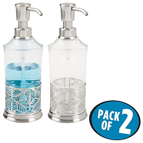 mDesign Liquid Soap Dispenser Pump Bottle with Leaf Design for Kitchen Sink, Bathroom Vanity Countertops   Also Can be Used for Hand Lotion & Essential Oils - Pack of 2, Clear/Brushed Nickel ()