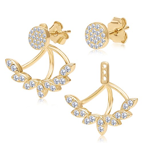 Sterling Silver Yellow Gold Finish Front Back 2 in 1 Cubic Zirconia Stud and Ear Jacket Earrings Set