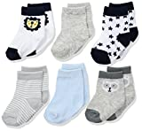Rene Rofe Baby Baby 6 Pair of Socks on Header Card, Blue Lion, 0-9 Months
