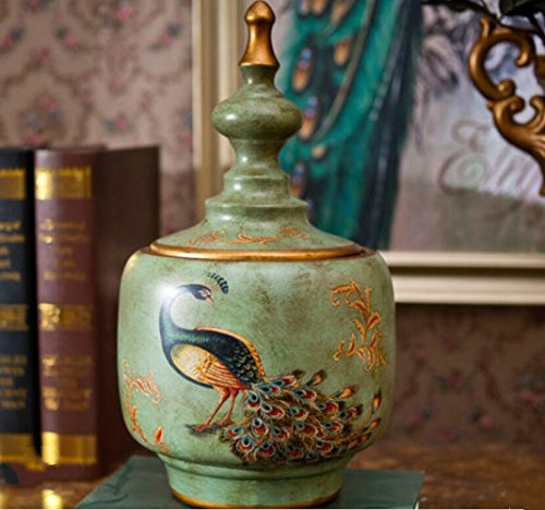 BWLZSP 1PCS American antique ceramic storage tank European style tea pot living room wine cabinet ornaments home accessories LU618123 (Color : S) by BWLZSP