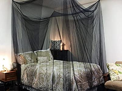Comixpro Black Four Corner Canopy Bed Netting Mosquito Net Full Queen King Size Bedding