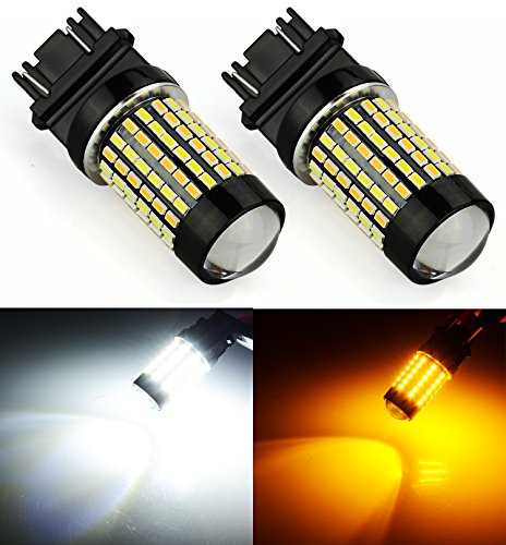 JDM ASTAR Extremely Bright 120-EX Chipsets White/Yellow 3157 3155 3457 4157 Switchback LED Bulbs with Projector For Turn Signal Lights( Only work for standard socket , not for ck socket) -