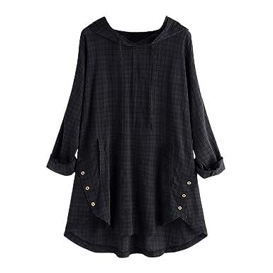 34b0e269dfc4 NREALY Tops Womens Plus Size Long Sleeve Kaftan Baggy Button Cotton Linen  Casual Tunic Blouse(