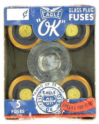 EAGLE 25A GLASS PLUG FUSES #690-25A (PKG 5)