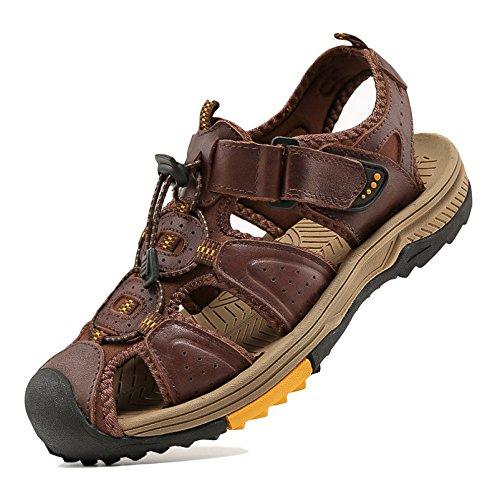 Colisión Transpirable Zapatos D Zapato De Gran Caqui Vintage Marrón Renhong Prevención Playa Aire Verano Cuero Real Sandalias Casual Tamaño Negro Velcro Al Libre Yw6f0qF