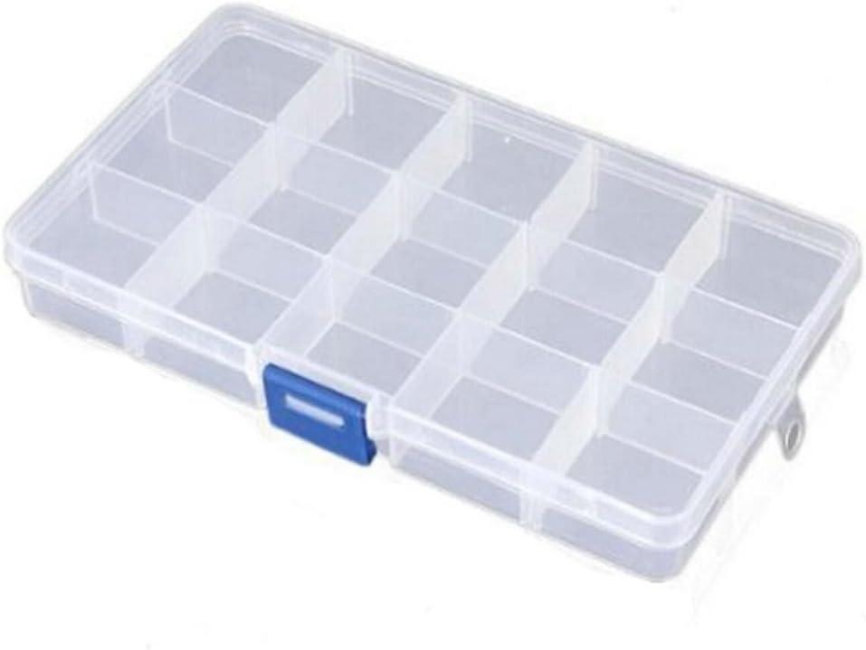 Weimay - Caja de almacenamiento ajustable de plástico transparente con 15 rejillas para joyas y accesorios para el pelo