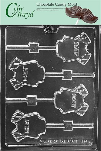 (Cybrtrayd Life of the Party B062 Baby Onesie Lolly Chocolate Candy Mold in Sealed Protective Poly Bag Imprinted with Copyrighted Cybrtrayd Molding Instructions)