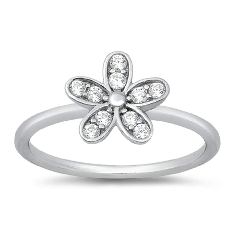 Oxford Diamond Co Cute Flower Cubic Zirconia .925 Sterling Silver Ring Sizes 4-10