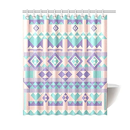Aztec Pattern Waterproof Bathroom Decor Fabric Shower Curtain Polyester 60 X 72 Inches