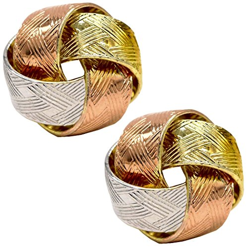 Price comparison product image Juvel Jewelry Multi-Tone 14K Rose Rhodium Gold Plated Linked Classics Stud Earrings 3 Color