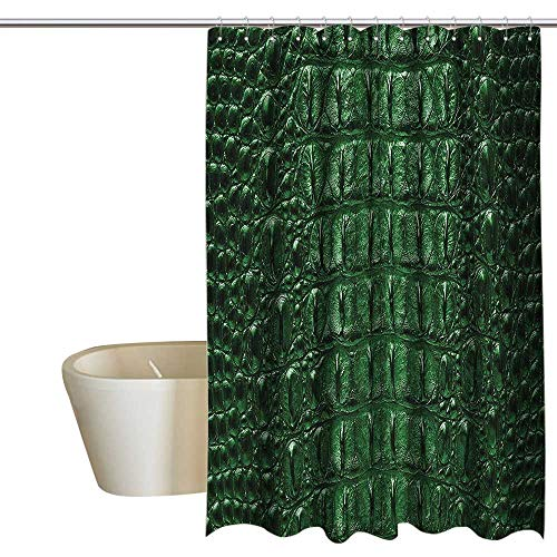 MaryMunger Animal Print Collection Hotel Style Shower Curtain Crocodile Bone Skin Pattern Dangerous Animals Luxury Lifestyle Illustration Bathroom Window Curtains W48 x L84 Green
