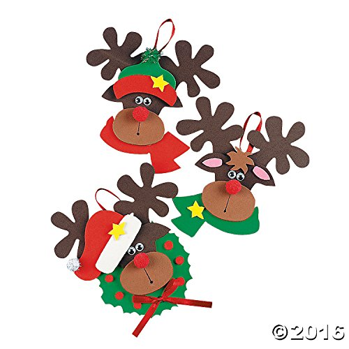 (Foam Reindeer Holiday Ornament Craft Kit - Pack of 12 Kits)