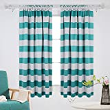 Deconovo Nautical Rod Pocket Blackout Curtains Rod Pocket Drapes for Ktichen 52W X 63L with Wave Stripe Pattern Turquoise 2 Panels