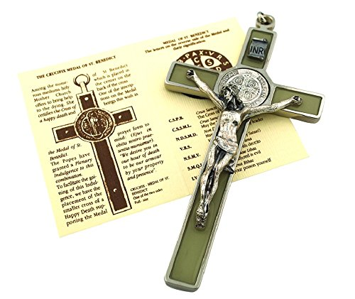 St. Benedict Wall Crucifix with Colored Enamel and Booklet Explaining The St. Benedict Medal (Luminous (Glows in The Dark!)) (St Imports)