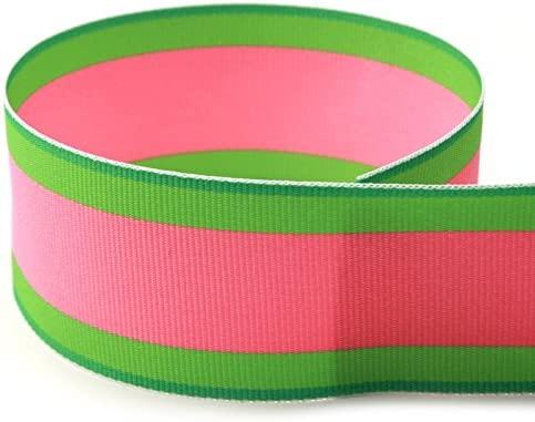 """5 Yds Lime Green White Striped Grosgrain Ribbon 7//8/""""W"""