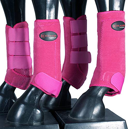 HILASON Medium Horse Front Rear Leg Protection Sports Boot 4 Pack Pink