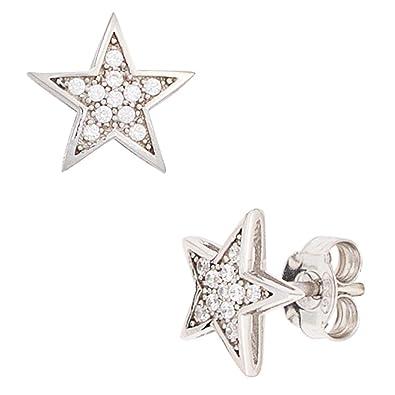 marmorgrau Howlith 925 Silber Damen rund 12mm Ohrstecker Ohrringe