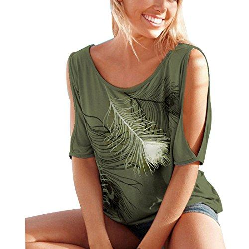 da a Maglietta Maglietta da Stampata Maniche Donna Allentata Maglietta Maglietta Spalle con Donna Donna Scoperte da Corte Huicai vYHBwY