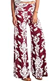 LeggingsQueen Women's High Waist Printed Palazzo Wide Leg Pants (P6207-BGD, X-Large) offers