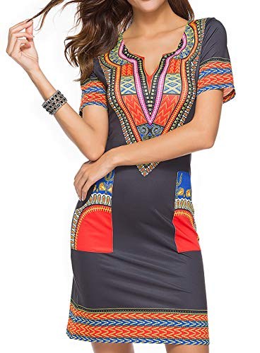 - Women's Sexy Stretch V Neck Dashiki African Bodycon Midi Dresses Bohemian Vintage Club Pocket Black Blue