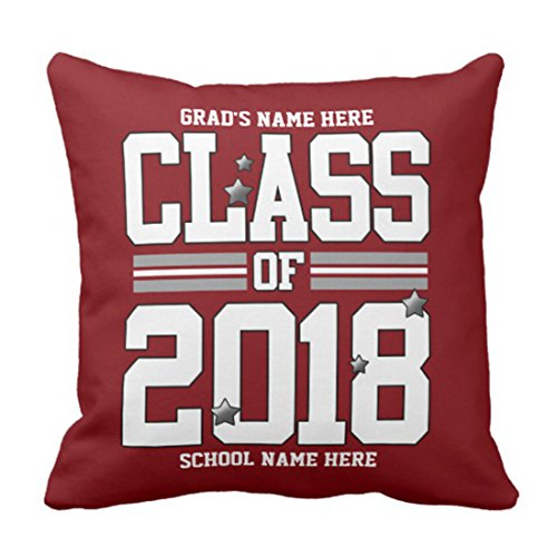 Graduation Pillow Personalized - Emvency Throw Pillow Cover Graduation Red Silver Class of Personalized Senior Decorative Pillow Case Home Decor Square 20 x 20 Inch Pillowcase