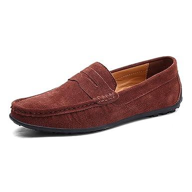 FHTDN Mocasines de cuero de gamuza clásico clásico para hombre Zapatillas de deporte de confort Zapatillas sin cordones Mocasín Zapatillas: Amazon.es: Ropa ...